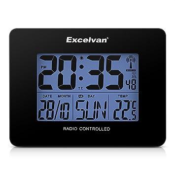 Excelvan AOK 2805 - Precisión Despertador Alarma Reloj Radio controlado Digital (Horario Ajustable Automatico, Termómetro, Temperatura, Calendario, ...