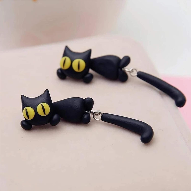 uniques yeux jaunes pour chat de dessin anim/é chat longue queue fendue type mignon boucles doreilles bijoux cadeau pour femmes filles Starall Boucles doreilles chat