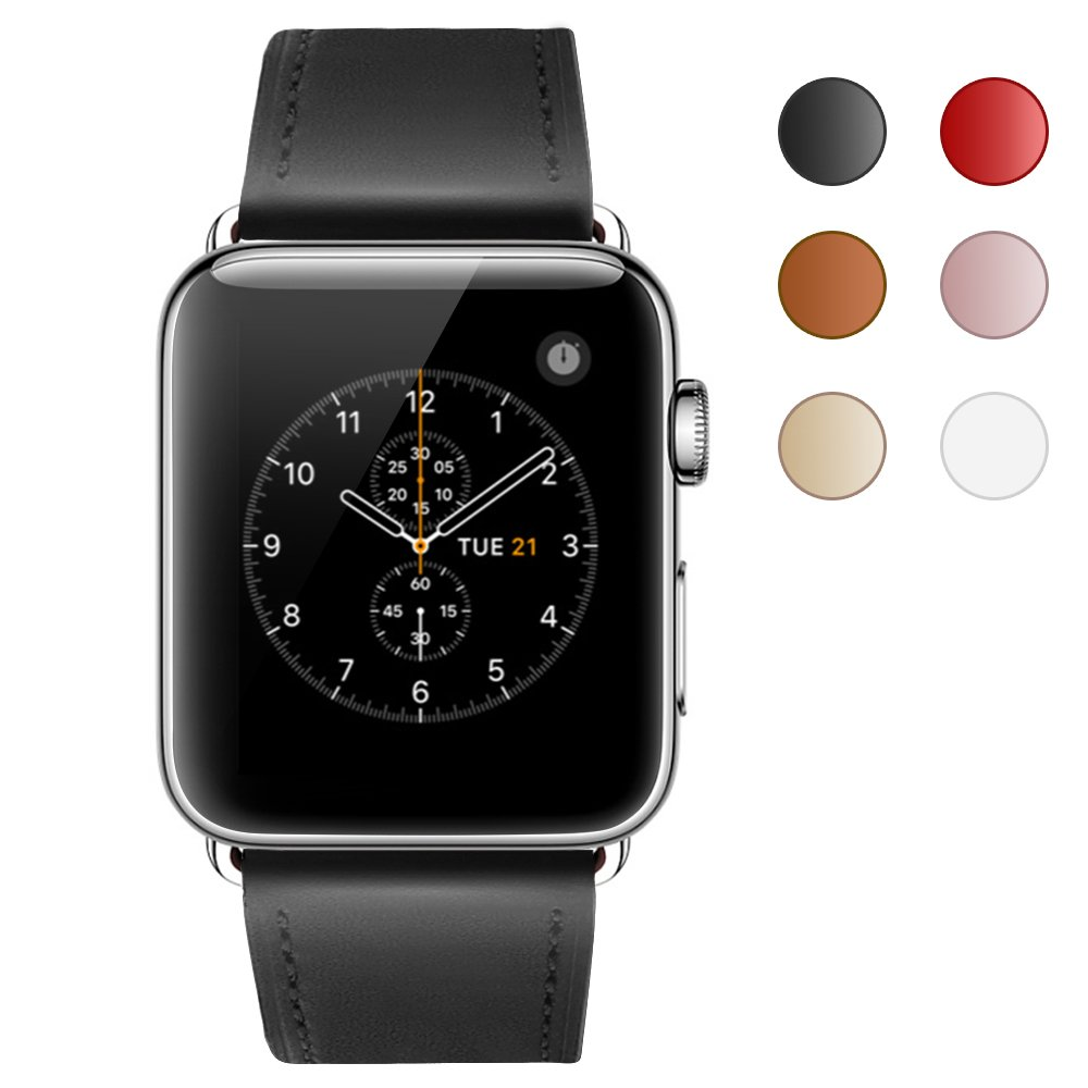 Compatible Apple Watch Band, COVERY 38MM iWatch Band Genuine Leather Strap Stainless Metal Buckle Compatible Apple Watch Series 3, Series 2, Series 1, Sport & Edition- Black by COVERY (Image #2)