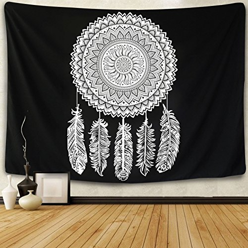 Tapestry Wall Hanging Dreamcatcher Black and White Tapestry Flower Mandala Feather Tapestry Indian Bohemian Hippie Wall Art for Living Room Bedroom Dorm Decor -