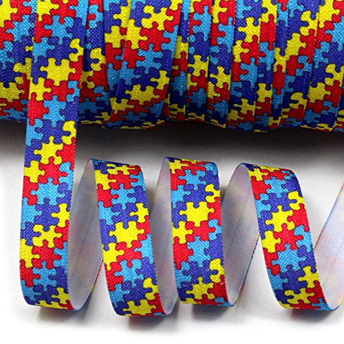 - Midi Ribbon Puzzle Autism Awarness Pattern Print Stretch Foldover Elastic 5/8
