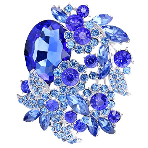(EVER FAITH Rhinestone Crystal Party Flower Leaf Vine Brooch Sapphire Color Silver-Tone)
