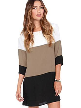 e4d0f3f53b16 Romwe Women s White coffee black colour block dress (S
