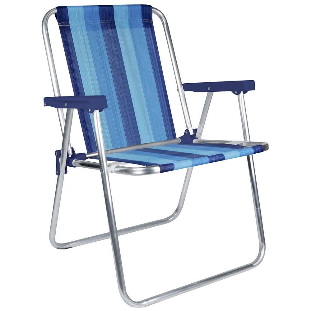 MOR Aluminum Beach Chair - 1 Position - (Pack of 1) - (Blue Variation Stripe)