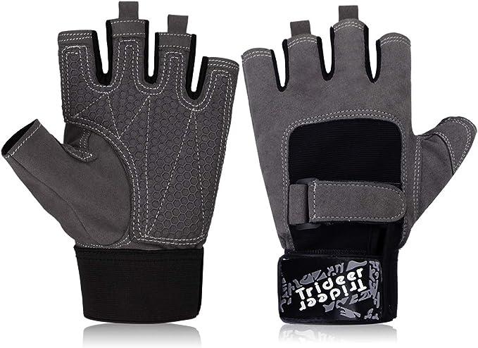 Trideer Traininghandschuhe Handgelenkstütze Fitness Handschuhe Anti-Rutsch M