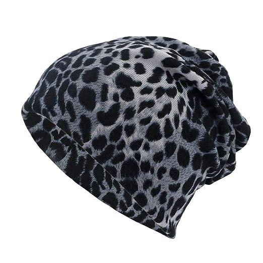 Womens Winter Hats Vintage Leopard Print Soft Warm Cotton Knit Beanie Cap  Headwrap Scarf (Black 740dca4ace6