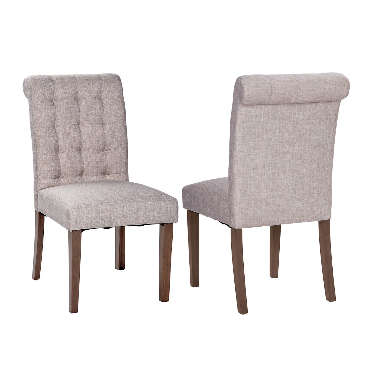 Merax Fabric Dining Chairs Padded Side Chair with Solid Wood Legs - set of 2 - Beige