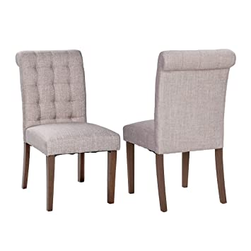 Merax Fabric Dining Chairs Padded Side Chair With Solid Wood Legs, Set Of 2,