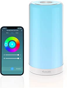 Smart Table Lamp, TECHVILLA Bedside Lamp Works with Alexa & Google Home, Standing Lamp with RGB Light Color Changing, Voice & APP Remote Control, Dimmable LED Lamp for Bedrooms