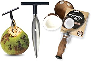 Coconut Opener Tool – Stainless Steel Coconut Meat Removal & Tap Opener Set – Practical & User-Friendly – Compatible with Peeled Thai Young White & Green Coconuts