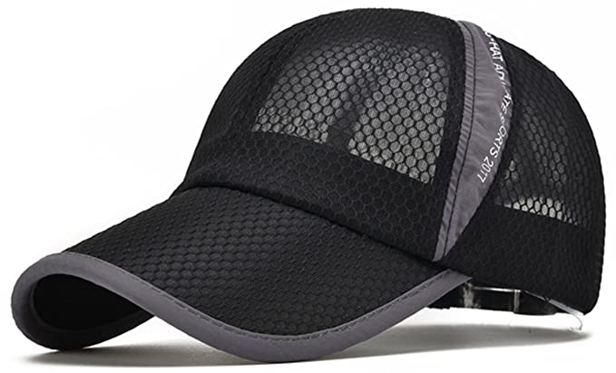4881427a38d ELLEWIN Unisex Black Hiking Cap Breathable Quick Dry Mesh Baseball Cap Sun  Hat