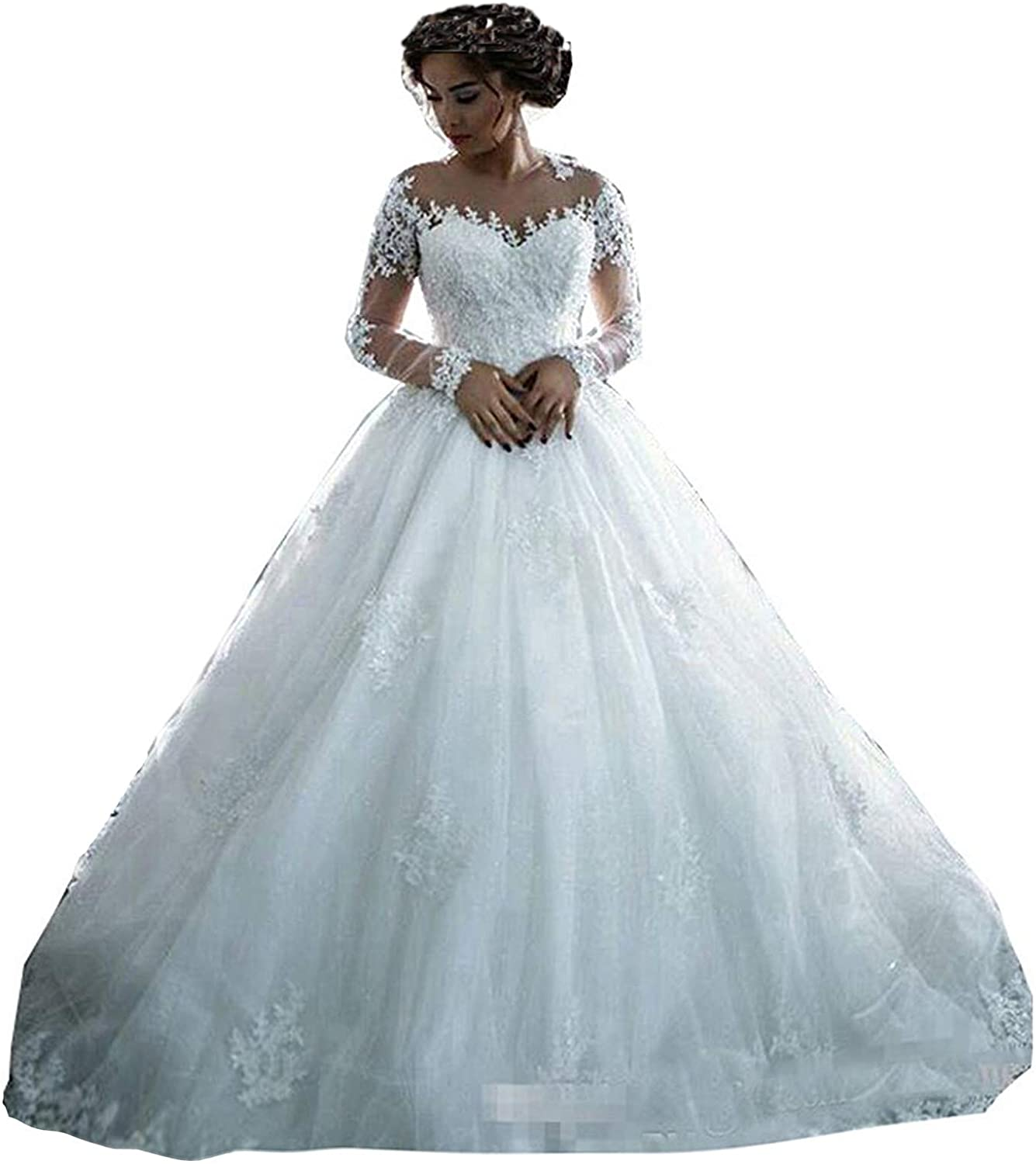 Amazon Com Fanciest Women S Lace Wedding Dresses Long Sleeve Wedding Dress Ball Bridal Gowns White Clothing