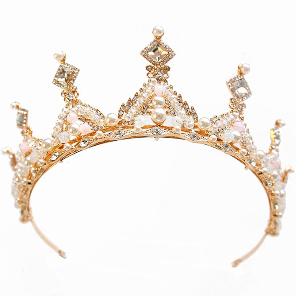 Gold Color Wedding Crown Queen Bridal Tiaras Princess Crown Headband Wedding Hair Accessories Hair Jewelry Sunshinesmile