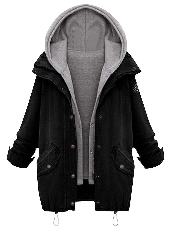Milumia Womens Hooded Drawstring Boyfriend Trends Jean Swish Pockets Two Piece Coat Jacket