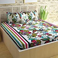 Story@Home Candy 120 TC Cotton Double Bedsheet with 2 Pillow Covers - White