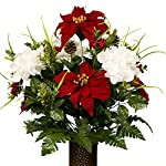 White-Hydrangea-and-Red-Poinsettias-Artificial-Bouquet-featuring-the-Stay-In-The-Vase-Designc-Flower-Holder-MD1813