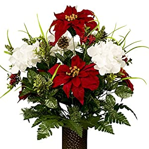 White Hydrangea and Red Poinsettias Artificial Bouquet, featuring the Stay-In-The-Vase Design(c) Flower Holder (MD1813) 114
