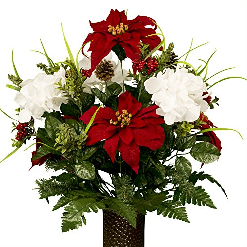 Silk christmas arrangements amazon white hydrangea and red poinsettias artificial bouquet featuring the stay in the vase designc flower holder md1813 mightylinksfo Choice Image