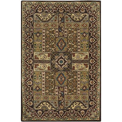 8rd Chocolate - Surya Caesar CAE-1048 Classic Hand Tufted 100% Wool Turtle Green 8' Round Traditional Area Rug