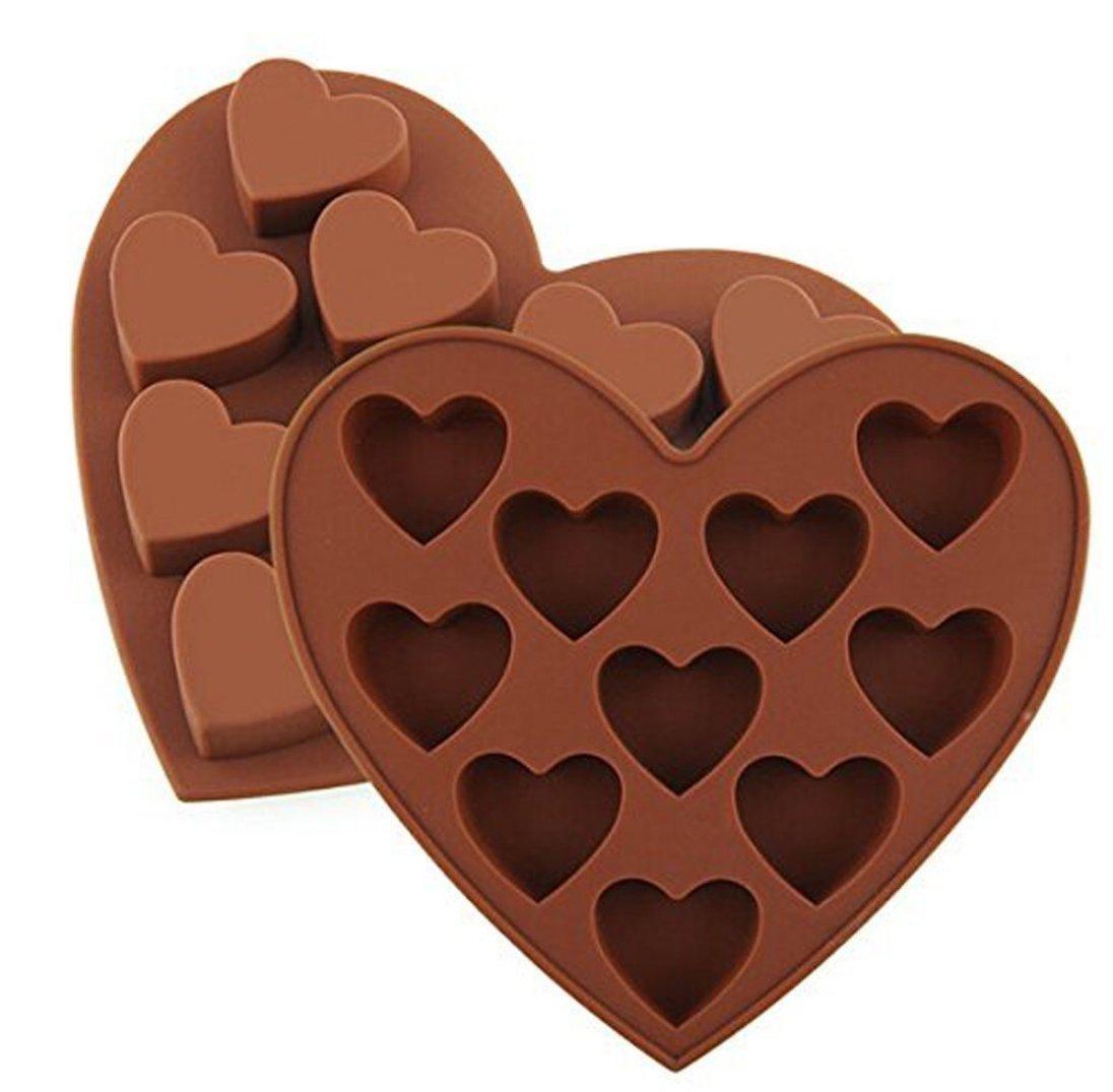 dingsheng Cherry 10/corazones de silicona para hielo con forma de dise/ño de pud/ín de Chocolate Candy moldes de jab/ón hecho a mano DIY moldes