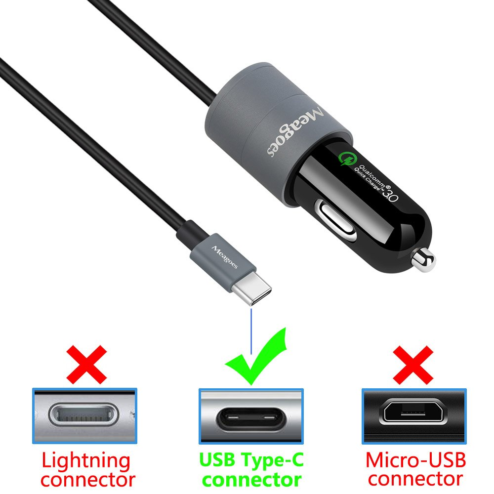 LG V40//G7 ThinQ Galaxy S10 Plus//S10//S10e//S9 Plus//S9//S8//S8+ Dual Quick Charge 3.0 4336706561 Meagoes Rapid USB Car Charger Compatible Samsung Note 9//Note 8 with 3.3ft Straight Type C Fast Charging Cable