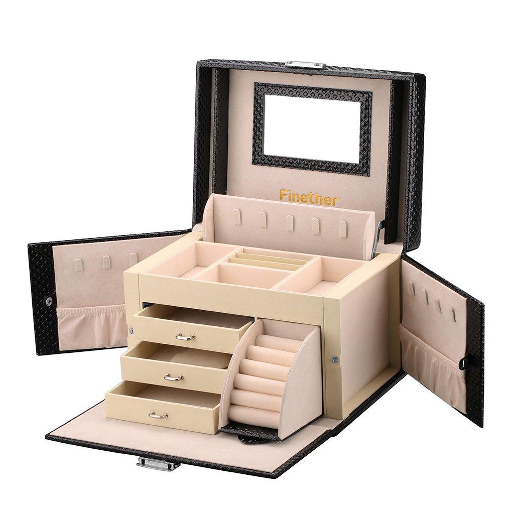 Finether-Joyero Bloqueable(Caja de joyas,Estuche Rectangular para Guardar Joyas,Pendientes,Anillos y Collares, Espejo y Cajones,Textura deDiamante,Tapa Elevable,)Negro