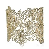 eManco Handmade AdjustableVintage Hollow Cuff Bangle Barcelets for Women Opening Wide Crystal Flower Jewelry