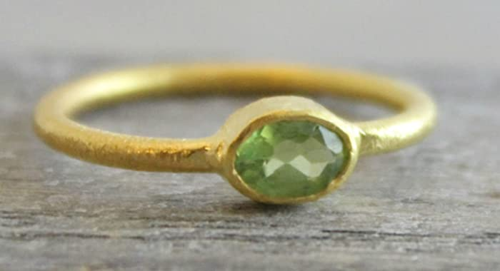 size 6 Petite Oval Prasiolite Green Amethyst Gemstone Gold Plated Sterling Silver Ring