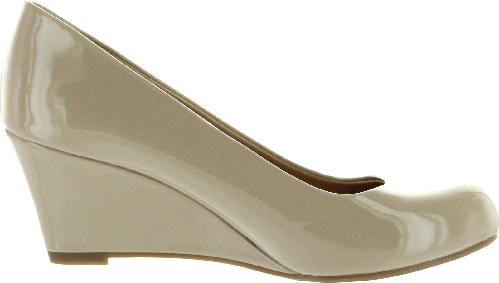 Forever Link Women's DORIS-22 Patent Round Toe Wedge Pumps,7.5 B(M) US,Beige by Forever (Image #2)