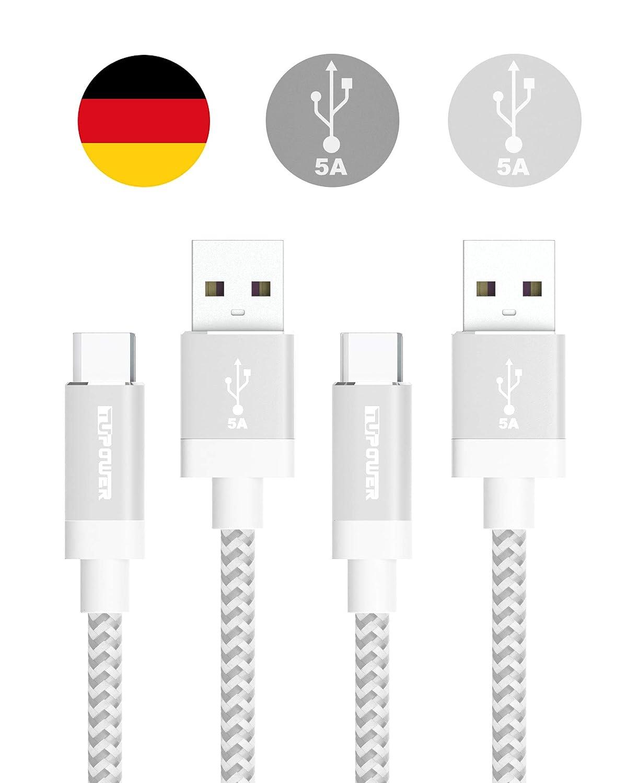 TUPower K22 2 piezas USB Tipo C Cable 3.1 5A 1,8m Larga Typ C Cable de Carga para Huawei Mate 20 10 Pro P20 Porsche Design P10 P9 Plus Honor View 10 ...