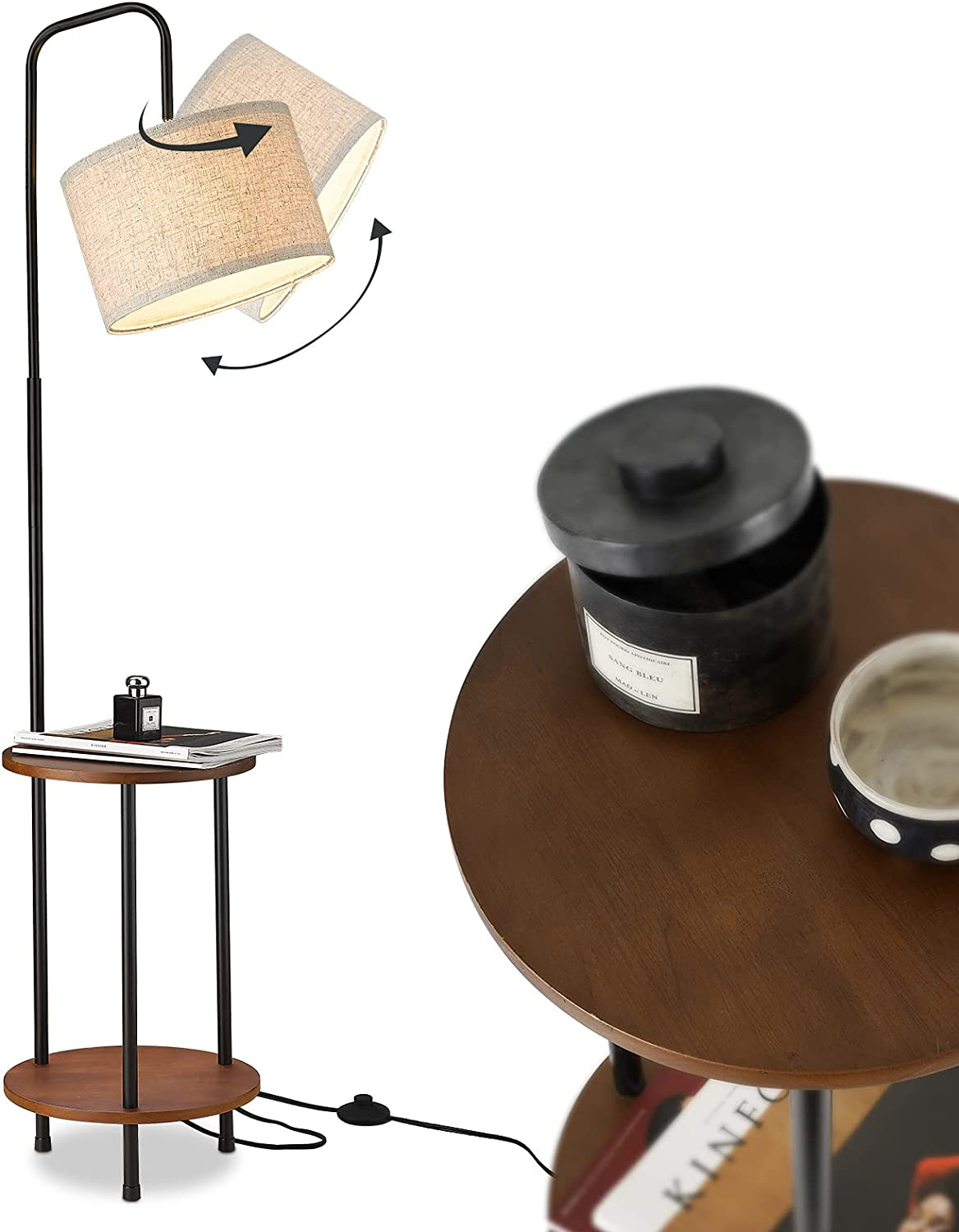 ELYONA Wood Floor Lamp, Nightstand Table Lamp for Bedroom & Living Room, Mid Century Modern Matte Floor Lamp with End Table for Farmhouse, Industrial Tall Pole Reading Standing Light for Office