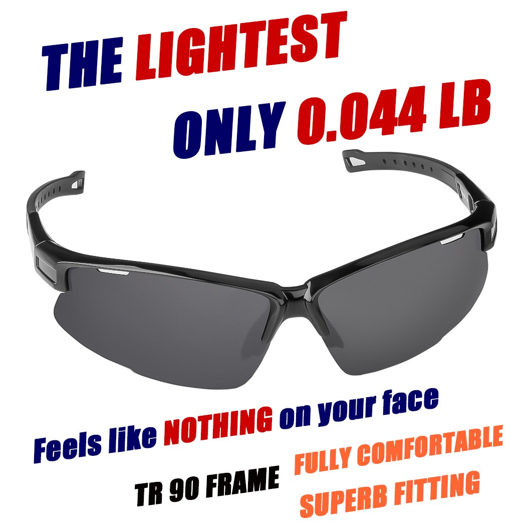 39a3812d2bc ... Sports Sunglasses  Tr90  Frame  One of The Lightest Sports Sunglasses   Only 0.044 Lb for Running Golf Driving Baseball Cycling Fishing Men Women  Teens ...