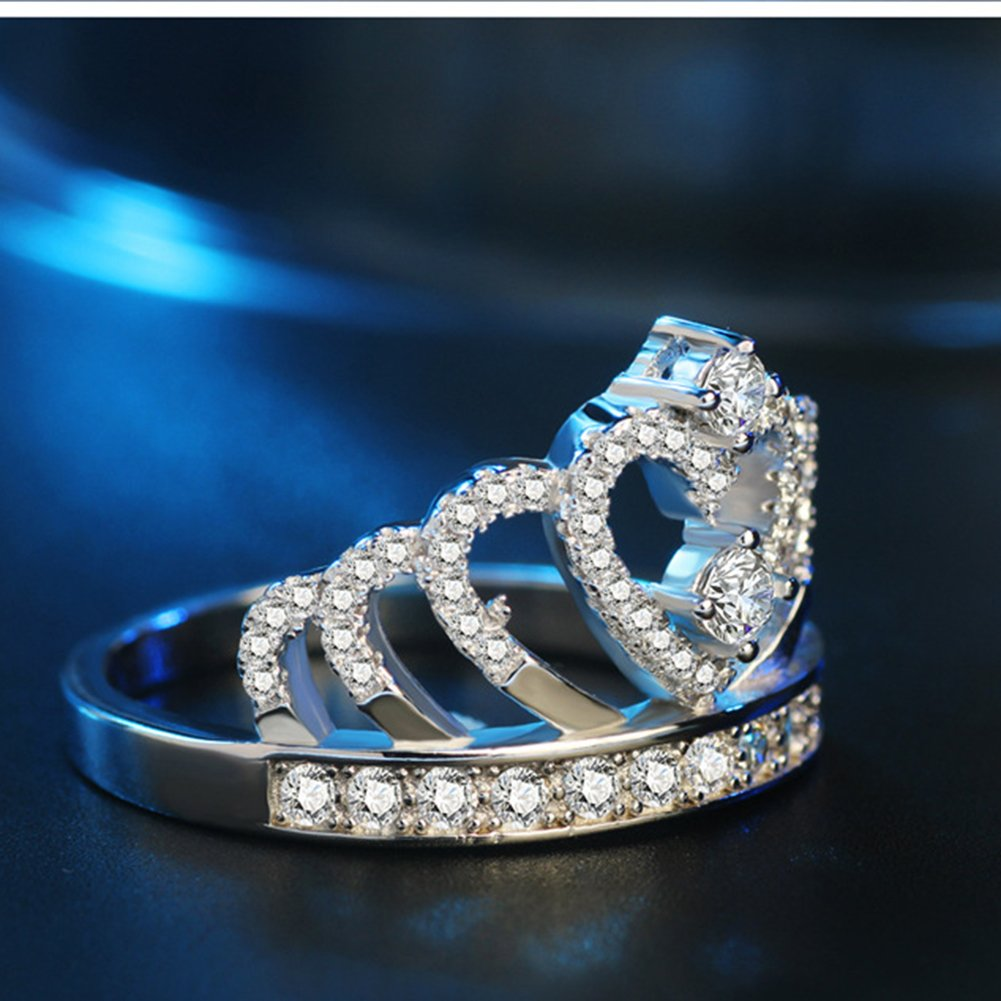 Impression 1/Pcs Anneaux Bague en forme de couronne de forage anneau de diamant de mode anneau de cristal Girl Accessoires de la bijouterie jour de la Saint Valentin Cadeaux de mariage anneau ouvert Silver