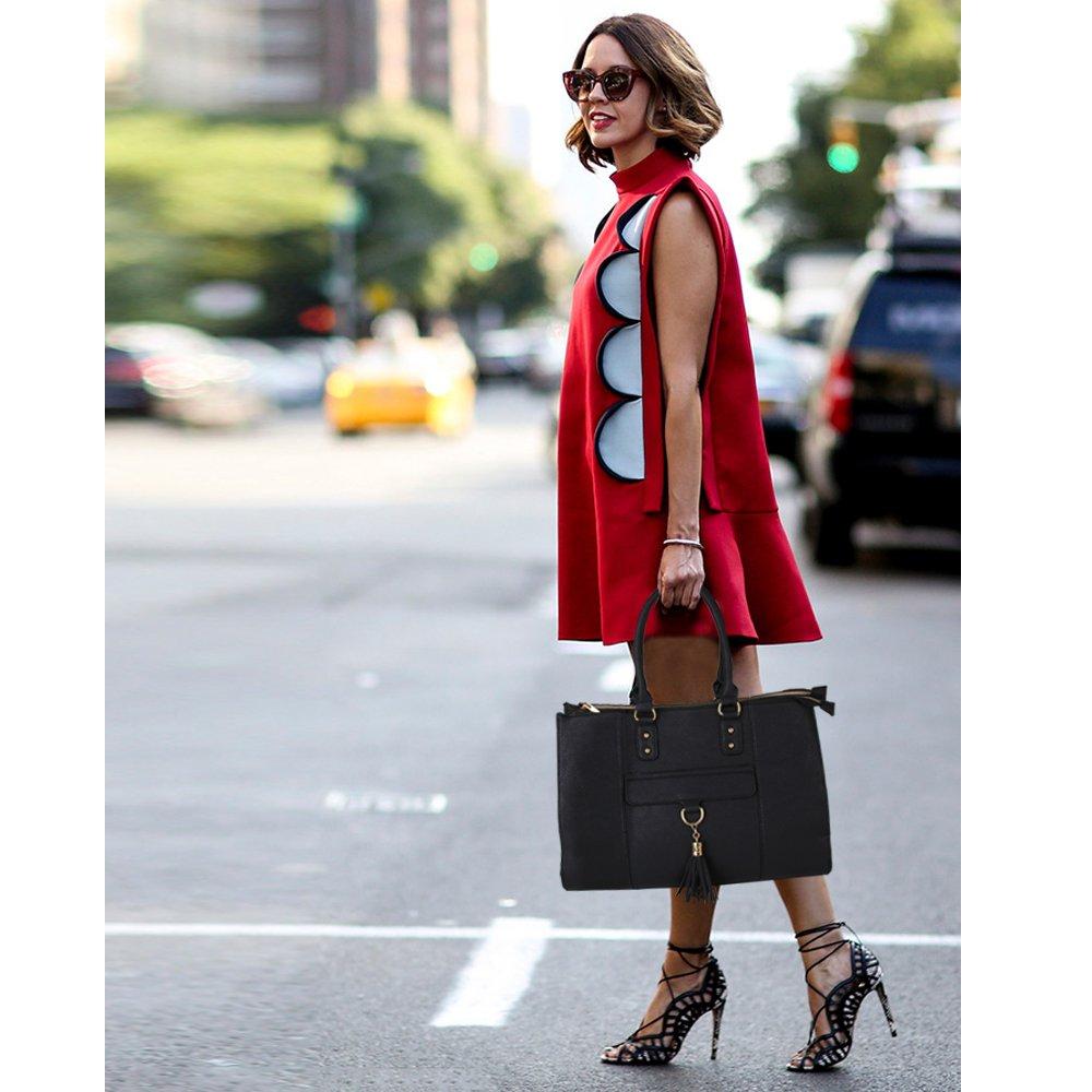 Eva & Evan 2018 New Women Satchel Handbags Shoulder Bag with Tassels Top Handle Large PU Leather Adjustable Strap Black by BAYTTER (Image #2)