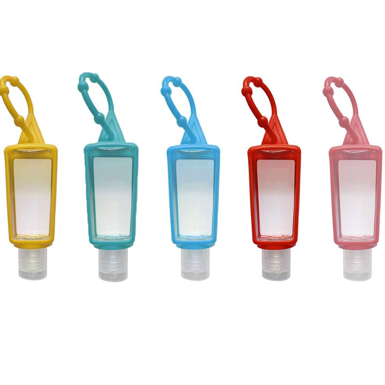 5 Pack Keychain Hand Sanitizer Holder with Empty Bottle-1OZ Bath and Body Works Hand Sanitizer Holder Leak Proof Keychain Sanitizer Holder