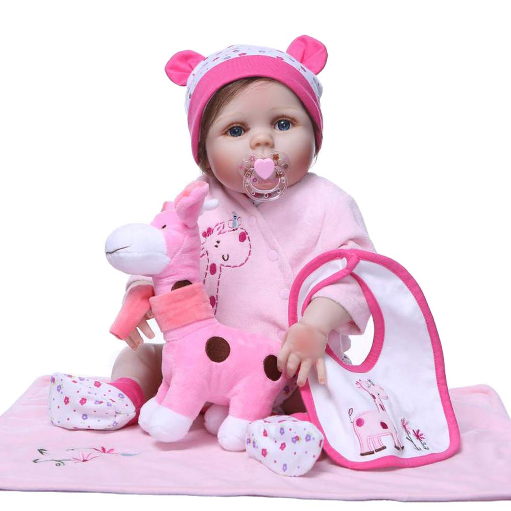 IIWOJ Reborn Baby Girl Doll, 22.05 Inch Realistic Full Silikon-lebensechte Neuborn Safe Girl es Gifts, Photography Props