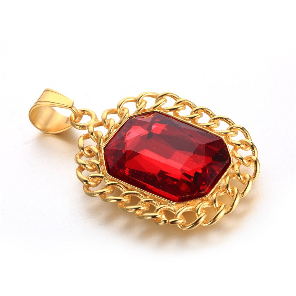 PAURO Mens Stainless Steel Gold Plated Octagon Ruby Iced Out Necklace Hip Hop Pendant with Chain