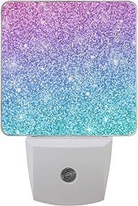 Pink Blue Glitter Night Light Set of 2, Plug-in Sensor LED Light Lamp