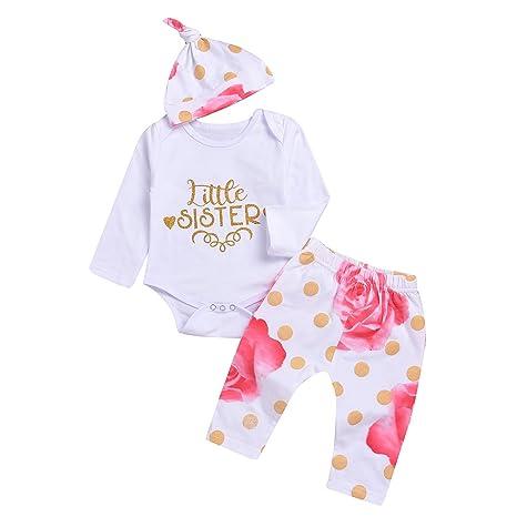 puseky Little Sister bebé recién nacido Niñas Trajes Pelele de oro corazón pantalones y gorro conjunto