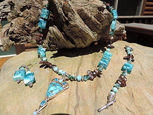 Copper Blue Arizona Turquoise, Blue Topaz, Fire Opal Pendant & Fresh Water Pearls Necklace & Bracelet