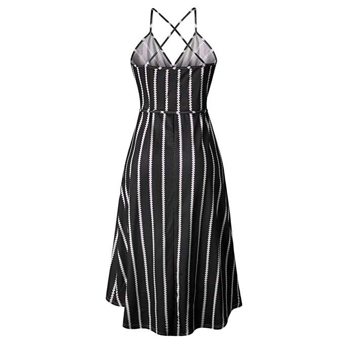 ZODOF Vestidos Largos Mujer Hueca Vestido de Verano de Mujer Boho Maxi a Rayas Vestido de Noche Vestido de Playa Vestido de Playa Fiesta Slim Vestido: ...