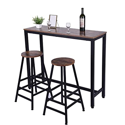 Buy Us Fast Shipment Quaanti Pub Bar Table Counter Height Dining Table Dining High Top Table Industrial Kitchen Bar Table Chairs Stools Set For Small Space Breakfast Nook Dining Room Living Room Brown Online In Qatar B07vdc4hkv