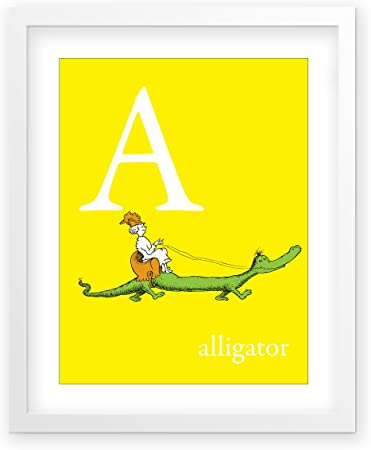 Amazon Com A Alligator Yellow B1af Framed Dr Seuss Art Print Derived From Dr Seuss S Abc Book Childrens Wall Decor Posters Prints