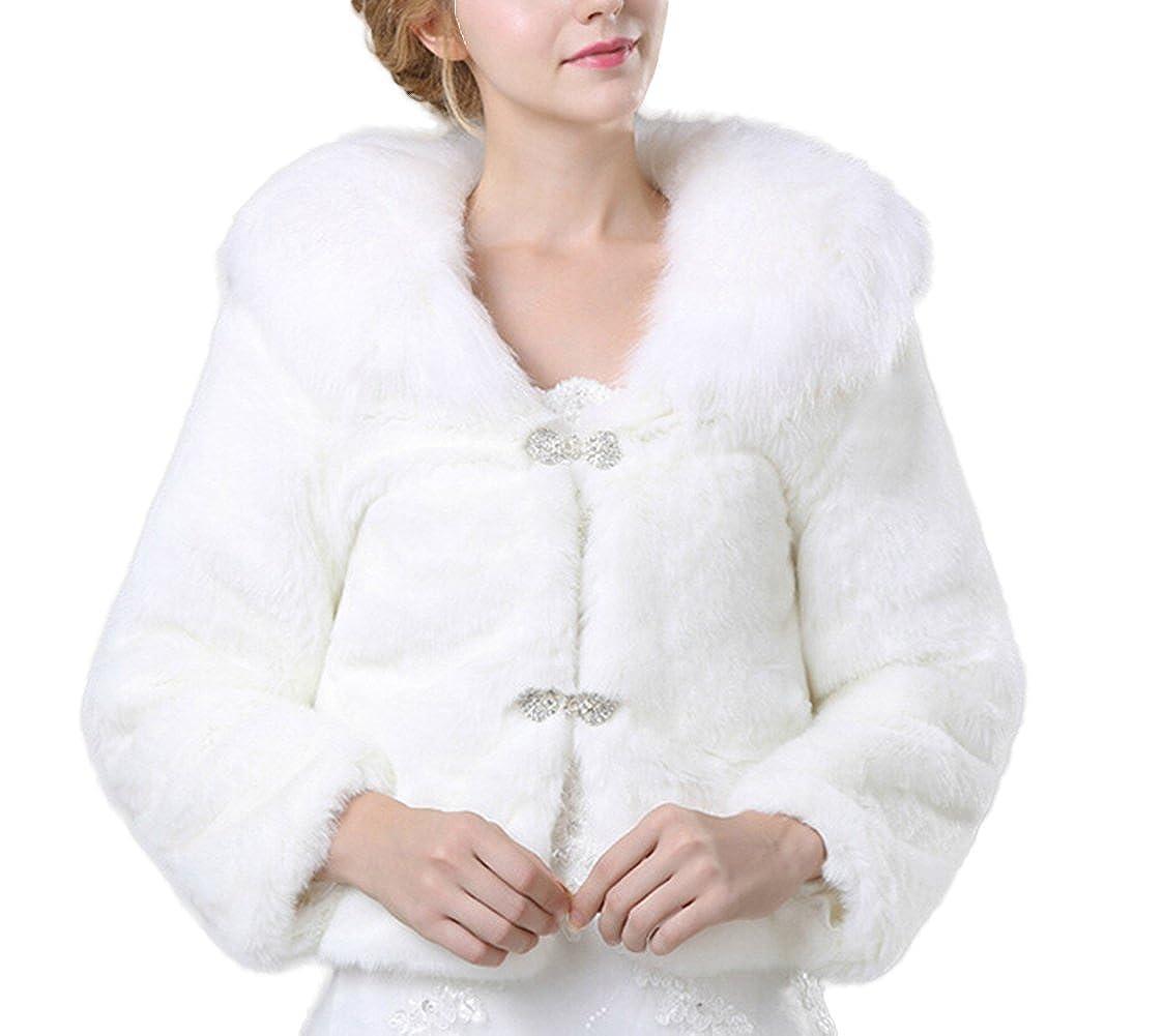 Icegrey Donna Morbido Coprispalle Nuziale Stile Bolerino da Sposa in Ecopelliccia Scialle Per Feste Matrimoni Blanco