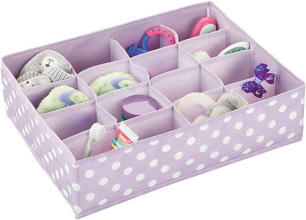 mDesign Organizador de tela plegable con 16 compartimentos – Separador para cajones grande de fibra sintética transpirable para artículos de bebé – Caja para accesorios del cuarto infantil – lila: Amazon.es: Hogar