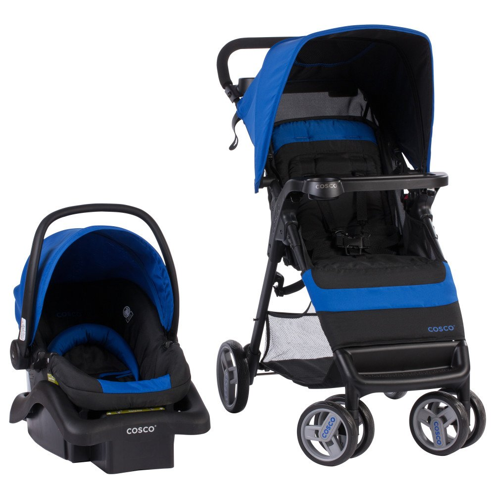 Cosco Simple Fold Travel System with Light and Comfy 22 Infant Car Seat, Sapphire by COSCO