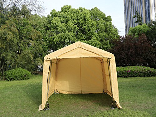 New 10x10x8FT Auto Shelter Logic Car Garage Steel Carport Canopy Tent Beige Portable by MTN Gearsmith