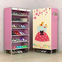Shopify Multipurpose Portable Folding Shoes Rack 6 Tiers Multi-Purpose Shoe Storage Organizer Cabinet Tower with Iron and Nonwoven Fabric with Zippered Dustproof Cover (HopeFullGirl)