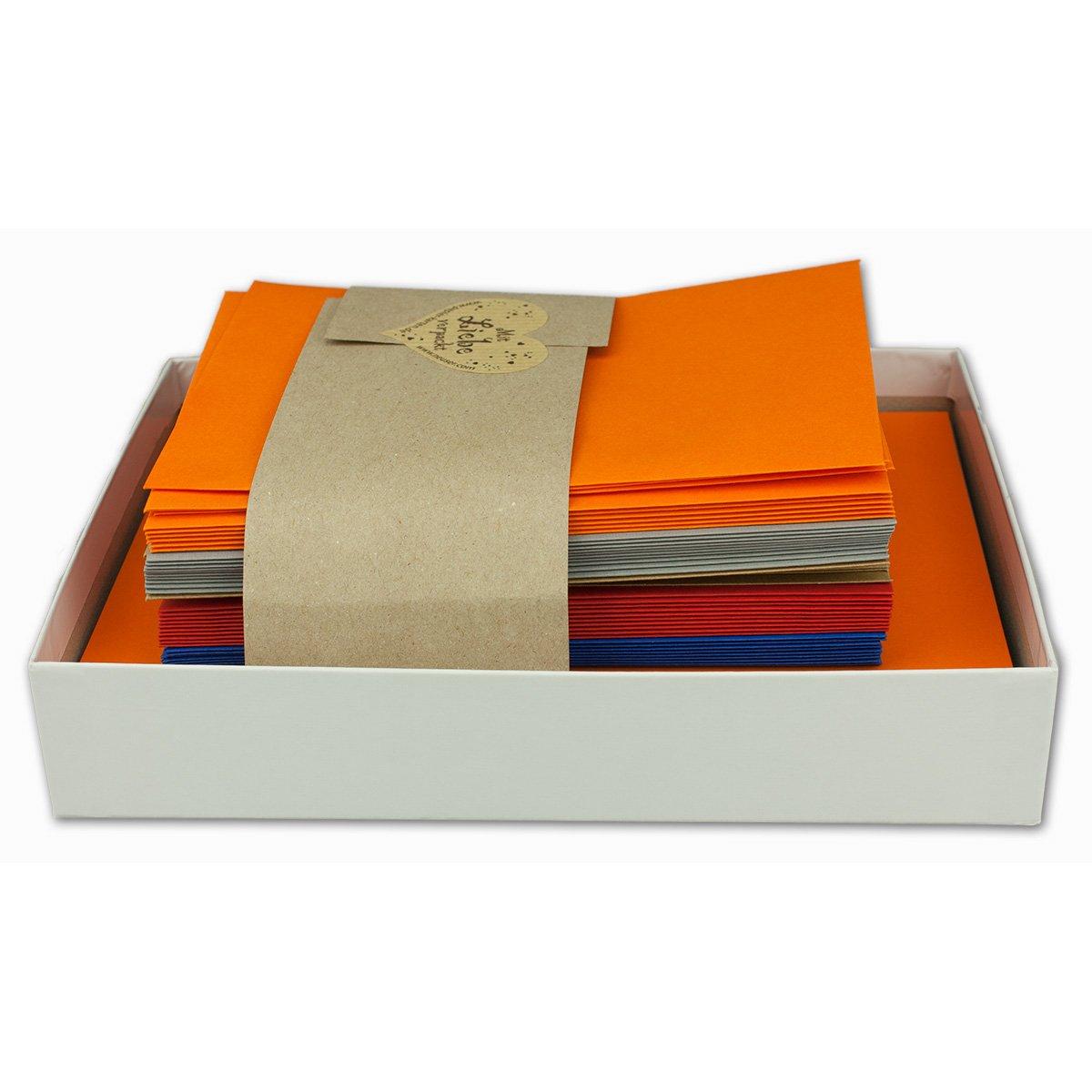 fogli singoli in 5 diversi colori Set di carta da lettere con buste DIN A6//C6 25 pezzi Sommer