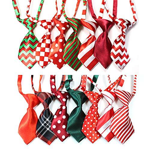 Yagopet 10pcs/pack Christmas Small Cat Dog Ties Xmas Dog Neckties Bow Ties Cat Dog Ties for Christmas Festival Dog Collar Dog Grooming AccessorieS - Neckties Dog Accessories